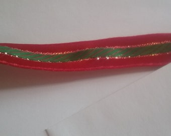 Vintage red green gold ribbon trim sewing supply