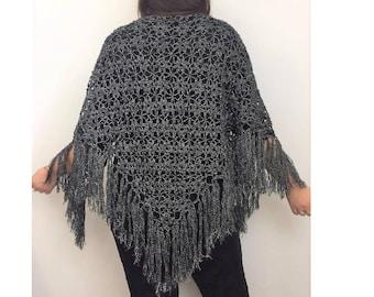 Black And Silver Fringe Shawl - Crocheted Black Fringe Shawl - Stevie Nicks Style - Witchy Shawl - Boho Shawl - Black Fringe Shawl - Boho