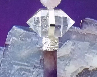 AMETHYST, Rose Quartz Crystal and Silver PENDANT With HERKIMER Diamond, Magic Trinity,  Silver Chain and Gift Box