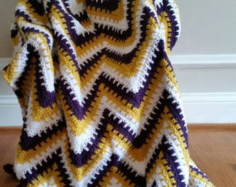Dk. Purple, Golden Yellow and White Spiked Ripple Afghan/Blanket, Blanket/Afghan, Crib Blanket/Afghan, Toddler Blanket/Afghan, Gift under 50