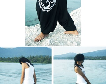 "Om Mandala Harem Pants Yoga Pants Drop Crotch Aladdin Pants Maxi  Baggy Pants Gypsy Pants Genie  Meditation 100% soft ""Tshirt"" Cotton"