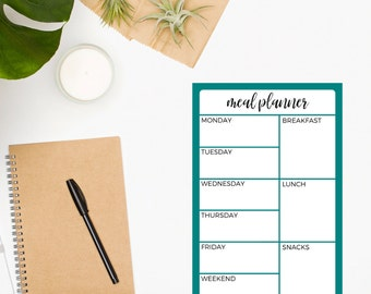 Meal Planner Notepad • Meal Planner • Menu • Turquoise Notepad • Weekly Meal Planner • Meal Planning