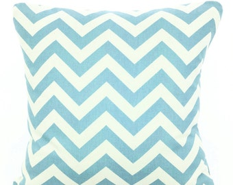 Blue Chevron Decorative Throw Pillow Covers, Cushions, Couch Pillows, Village Blue Zig Zag, Euro Sham, Throw Pillow, One or More All Sizes