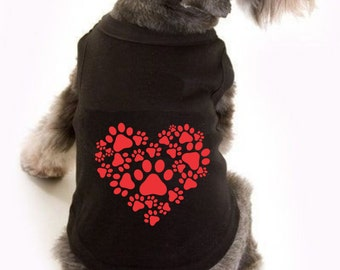Valentine heart, Personalized Dog gifts, valentine shirts, dog valentine, paw print, valentines day shirt, dog lover gift, dog sweater