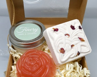 Vegan Rose Bath Gift Set **Rose Water Soap, Rose Bath Bomb, Rose Soy Wax Mini Mason Jar Candle**