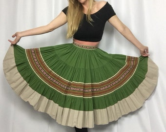 Vintage Mexican Traditional Circle Skirt | Green Earth Tones | High Waisted | Embroidered | Boho | Fiesta | Festival | Aztec
