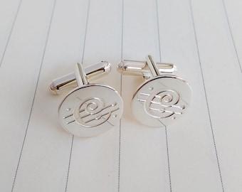 Chicago Symphony Orchestra Cufflinks,Chicago Symphony Cufflinks,Personalized Logo Cufflinks,Custom Logo Cufflinks,Groom Gift from Bride