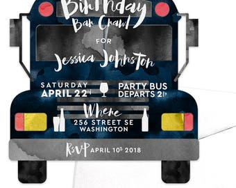 Birthday Bar Crawl / Pub Crawl / Party Bus Invitation / Birthday Drinks Invitation / Bachelor Party Bus / Drinking Alcohol / Girls Night Out