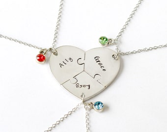 best friends necklace, Handstamped Jewelry, Sisters Necklace, broken Puzzle heart set, Customize Jewelry friendship necklace, Christmas gift
