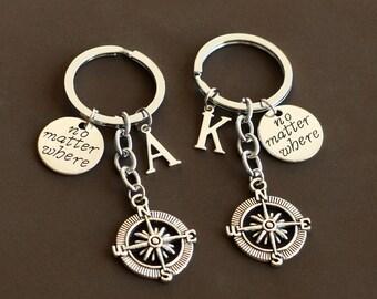 best friends keychain, Compass keychain, no matter where keychain, BFF keychain, Birthday Gift, Compass jewelry, friendship graduation gift