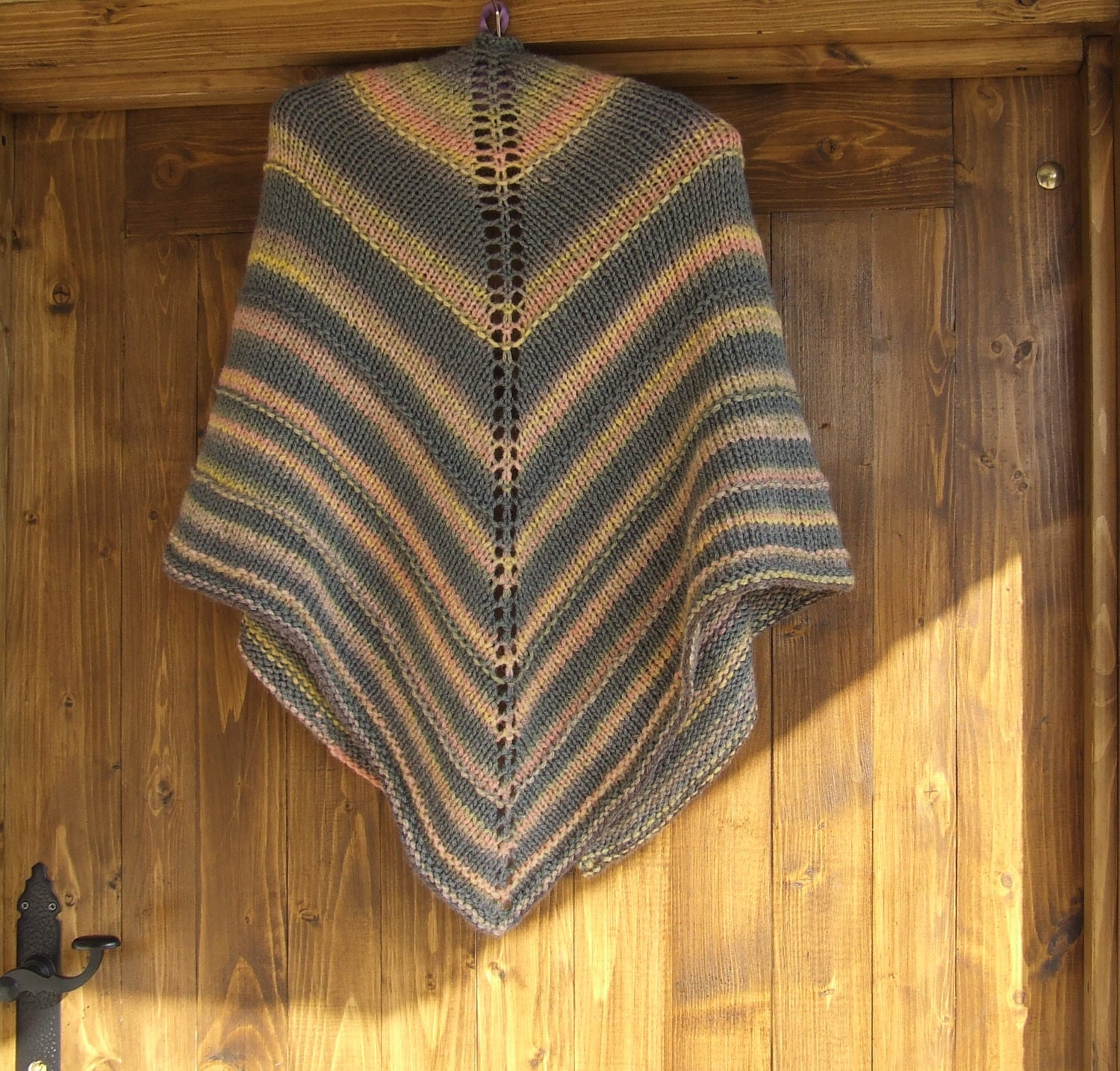 Knitted Triangle Shawl Pattern : Hand knitted triangle shawl Multi colour knitted wrap Hand