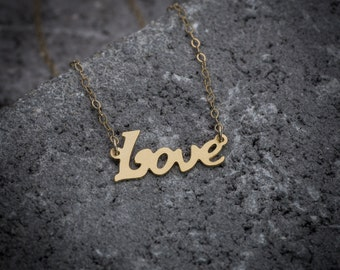 Love necklace, gift under 50, love word necklace, script necklace, statement necklace, relationship necklace, couple necklace, 14K gold.
