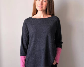 Grey Cashmere Jumper with Coloured Sleeves