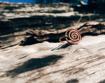Rustic Copper Spiral Ring