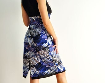 Reversible tango dress black with blue and white and a back slit