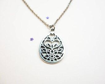 Filigree Lotus Drop Necklace OR Choker
