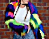 FunkiB patchwork rainbow neon UV wacky trendy colourful faux fur fluffy camo bright neon long pile fur jacket top rave clubwear fancydress