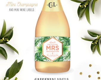 Bridal Shower Mini Champagne Label, Bachelorette Favors, Tropical Bridal Shower Favor, Tropical Cheers to the Future Mrs Mini Wine label