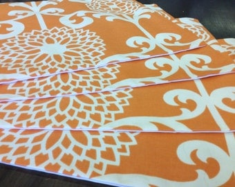 Orange and White Placemats, Place Settings w/ Flowers and Vines, Sets of 2.