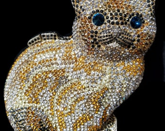 New Gold With  Clear Austrian Crystal Kitty With Sapphire Blue Eyes- Hardshell Clutch Bag