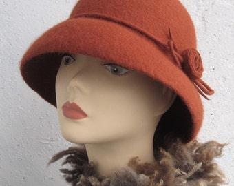 Felt hat Women's retro hat 1920s hat Red brown hat Elegant hat Women's hat with brim Retro hat Felted wool hat Hat felt Terracotta hat