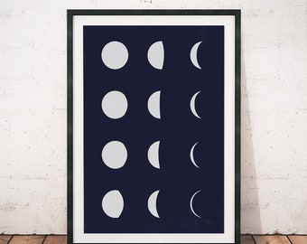 Moon phases print, Moon art, Minimalist moon phases, Constellation art, Modern moon print, Home decor art, Office decoration, Moon artwork