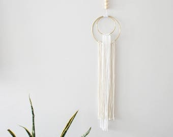 Gold Hoop Wall Hanging // Cotton // White // Natural