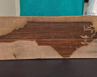 North Carolina State Sign, Reclaimed Wood Sign, Wall Decor, State Wall Art, Wood Wall Art, Americana, Wood Signs, State Art, Wood Decor