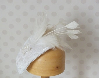 SAMPLE SALE Handmade Bridal Headpiece Fascinator with lace, feathers and Swarovski pearls.