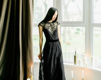 Lace black dress, Evening dress, long black dress, black lace dress, black evening dress, Lace black dress, 0102 // 2017