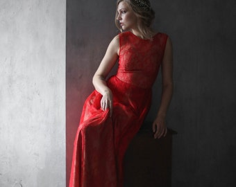 Red bridesmaid dress, Red evening dress, Red lace dress, Red wedding dress, Red dress, Long red dress, 0125 // 2017
