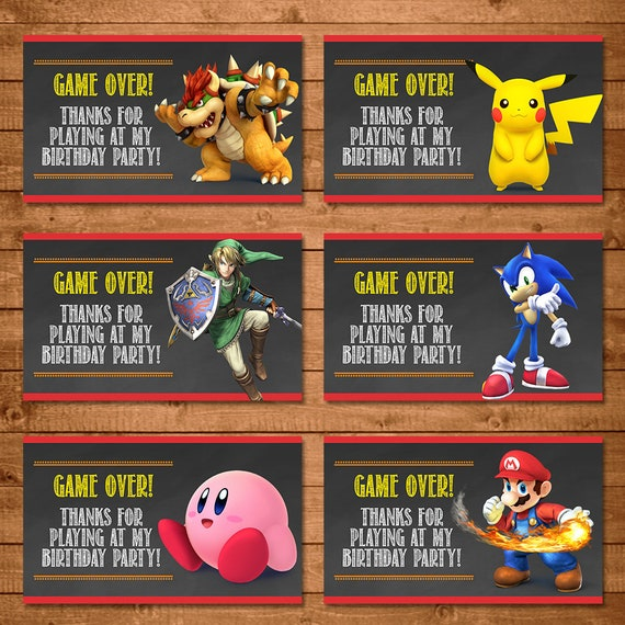Super Smash Brothers Party Tags - Super Smash Brothers Favor Tags - Super Smash Brothers Birthday - Video Game Birthday Party - Game Over