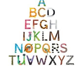 Alphabet Animal Letter Poster Print