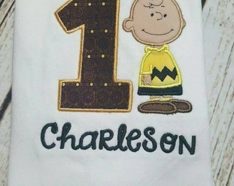 Birthday Charlie Brown shirt - personalized  - suspenders - peanuts
