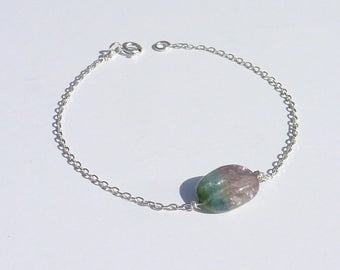 TOURMALINE silver BRACELET chain 925 Silver gemstone stone Unique fact in France good luck gift bracelet mother