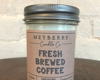 8oz Coffee Scented Candle, Hand Poured Soy Wax Candle, Meyberry Candles, Unique Gift, Soy Candles