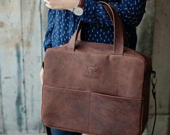 Laptop bag, leather laptop bag, laptop messenger bag, mens laptop bag, laptop bags for women, brown leather bag, brown crossbody bag