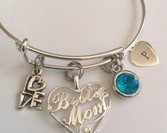 Mother Best Mom bracelet Sterling silver charm and bracelet