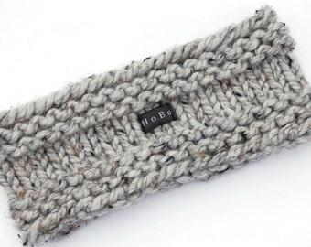 Knit Headband Earwarmer 9 Colours Available. Mens Ear Warmer. Chunky Grey Tweed Wool Blend. Mens, Womens, Kids. Sizes S/M/L/XL HoBo Handmade