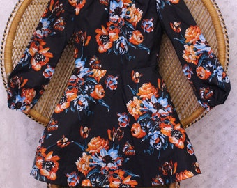 Vintage black orange hippy flower 70s smock ballon sleeves boho gypsy mini dress S