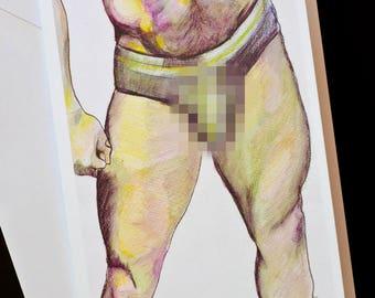 GAY GREETING CARD - blank inside, original artwork. Muscled legs with speedo bulge.