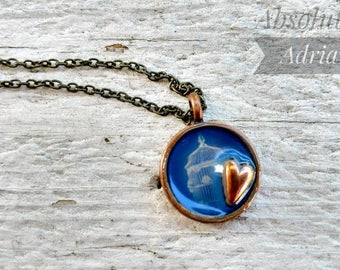 SALE* Vintage styled bird cage charm / Gold bronze heart necklace / Re purposed necklace / Bird /  Handmade jewelry / Handmade necklace