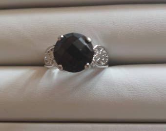 Black Onyx Sterling Silver Ring, Rhodium Plated, Natural Gemstone