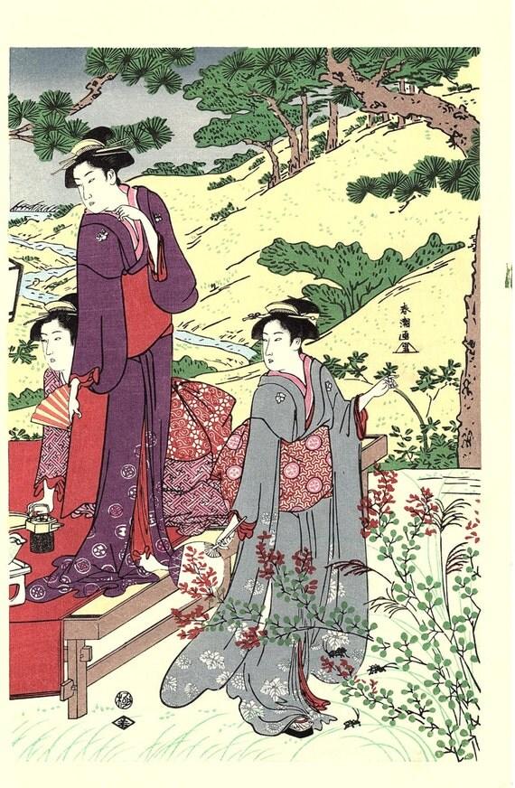 "Japanese Ukiyoe, Woodblock print, antique, Katsukawa Shuncho,  ""A Picnic Party in Autumn"""