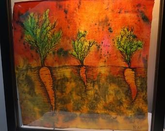 Orange Carrot - Framed Silk Painting