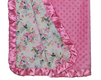 Shabby Chic Minky Blanket, Floral Baby Blanket, ready to ship