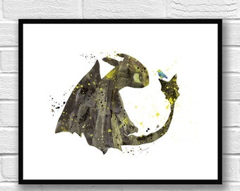 Toothless Fury Watercolor Print, How to train your Dragon Watercolor Art, Dragon Art Print, Movie Poster, Wall Art, Kids Room Decor - 376
