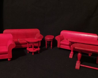 Lot Of Vintage Dollhouse Miniature Schoenhut Strombecker Red Living Room Furniture Set