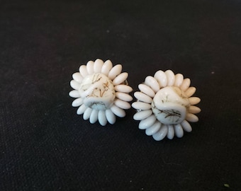 Vintage Beaded Millk Glass Circle Button Screw Back Earrings