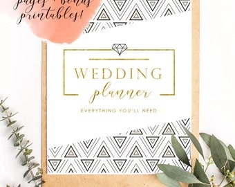 The Ultimate Printable Wedding Planner {with Bonus Gold Menu + Place Card Templates!} - 31 Page PDF, Ideal Bride or Engagement Gift Download